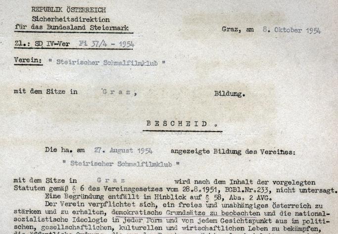 Gründungsbescheid Steirischer Schmalfilmklub 1954